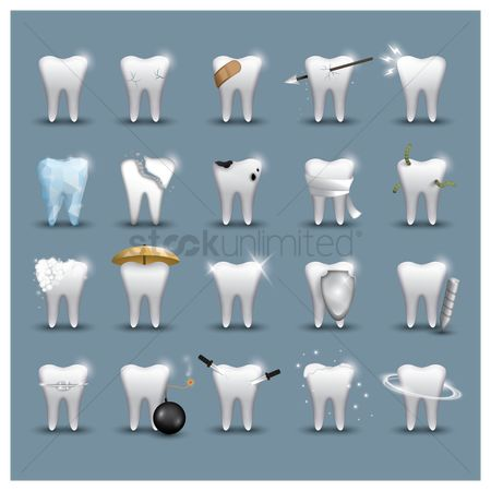 Tooth with braces : Set of teeth