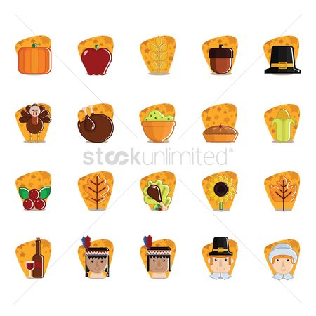 Apple : Set of thanksgiving icons