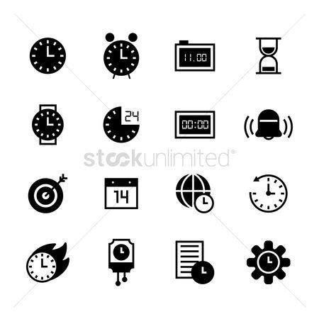 Sand clock : Set of time concept icons