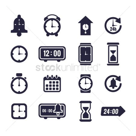 Sand clock : Set of time icons