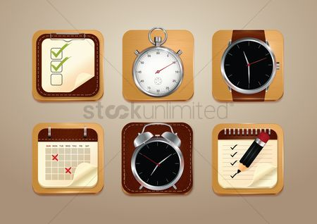 Accessories : Set of time management icons
