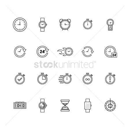 Minute : Set of timepiece icons