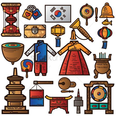 Drums : Set of traditional korea icons