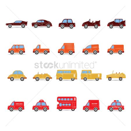 Lorries : Set of transportation icons