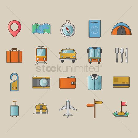 Currencies : Set of travel icons