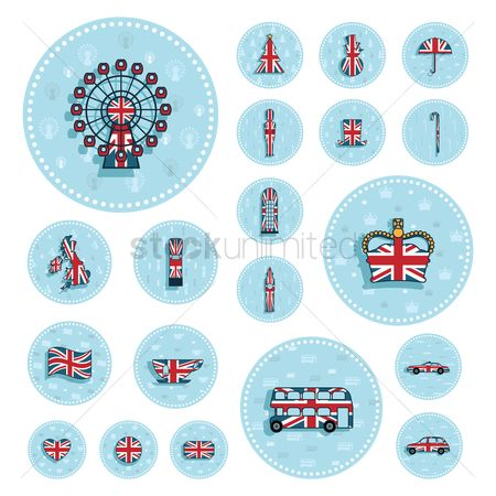 Royal : Set of uk stickers