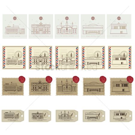 Royal : Set of united kingdom postage stamp icons