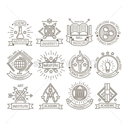 Insignia : Set of university logo element icons