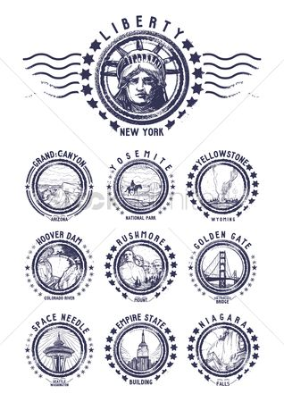 Monuments : Set of us grunge rubber stamps