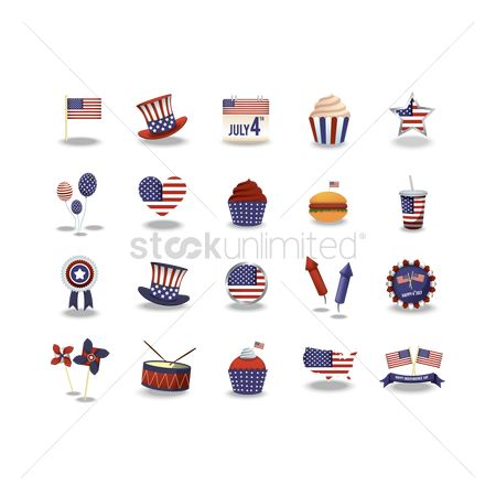 Month : Set of usa icons