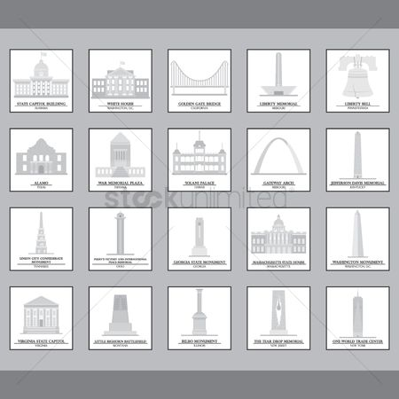 United states : Set of usa landmark icons