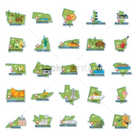 Red : Set of usa maps icons