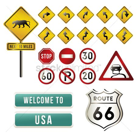 Caution : Set of usa road signs