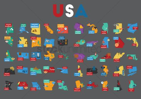 French : Set of usa state maps