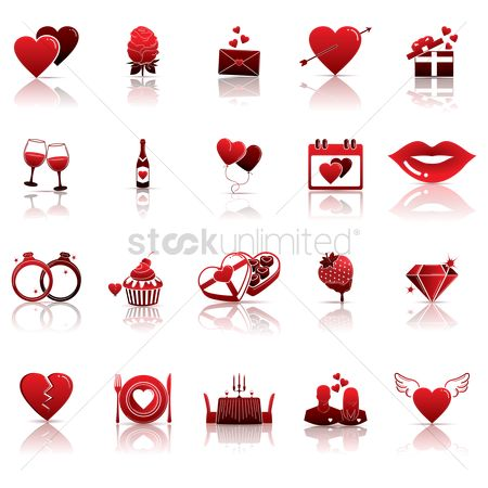 Red : Set of valentine icons