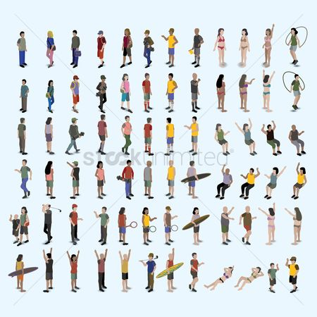 Recreation : Set of various isometric people