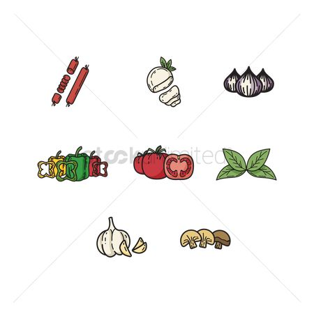 Sausage : Set of vegetables icons