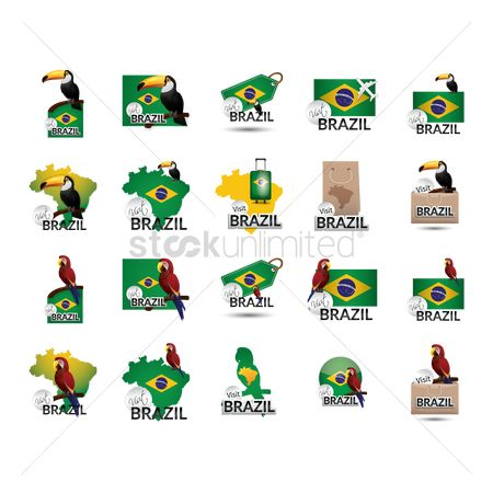 Stems : Set of visit brazil icons
