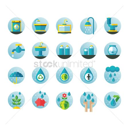 Washing machine : Set of water related icons