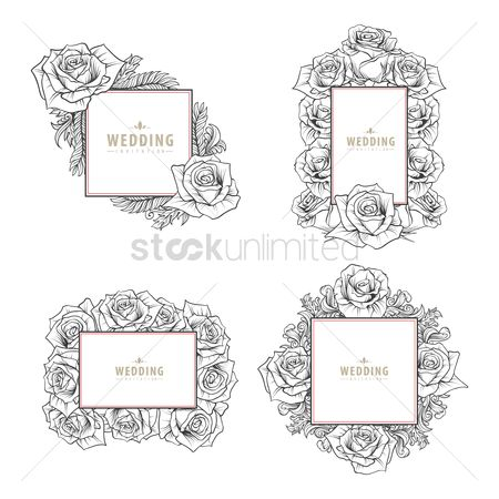 Weddings : Set of wedding invitation cards