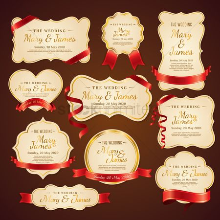 Weddings : Set of wedding invitations