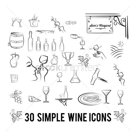 Servings : Set of wine icons