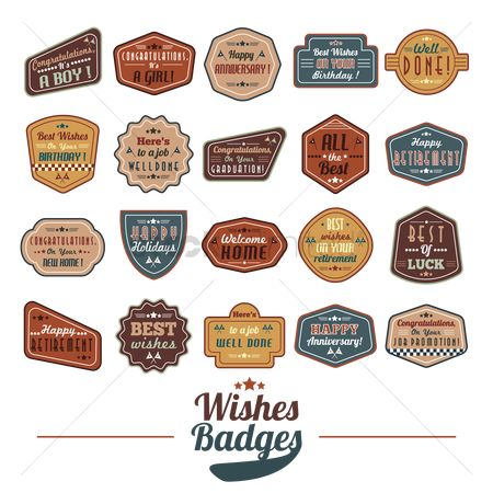 Boys : Set of wishes badges