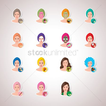 Cosmetic : Set of women in spa getting treatment