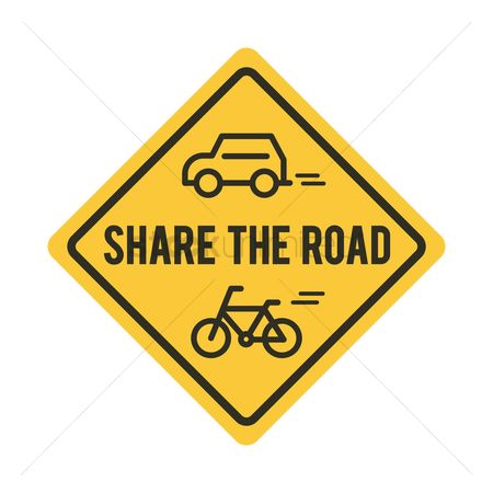 Roadsigns : Share the road sign with bicycle and car