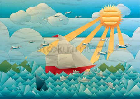 Sail : Ship on the sea