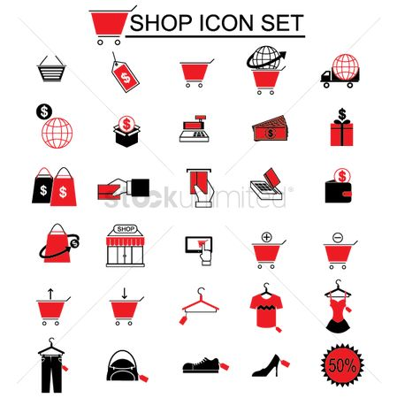 Footwear : Shop icon set