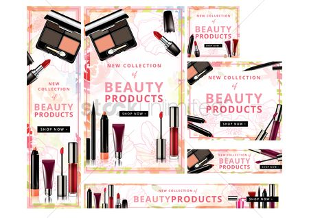 Cosmetic : Shop now beauty products banners set