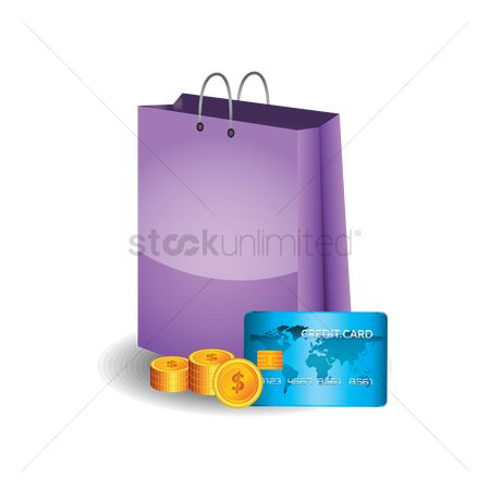 Credits : Shopping bag with coins and credit card