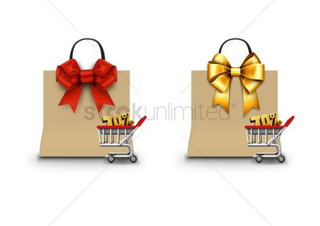 Retail : Shopping bags with bow ribbons