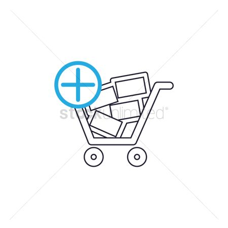 Hypermarket : Shopping cart with add sign