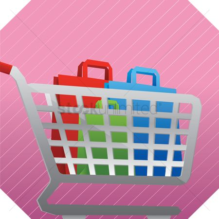 Hypermarket : Shopping cart with bags