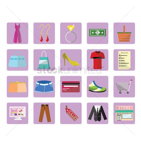 Online shopping : Shopping icon set
