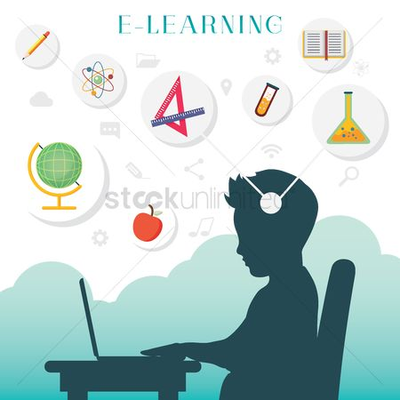 School children : Silhouette of a boy with e learning concept