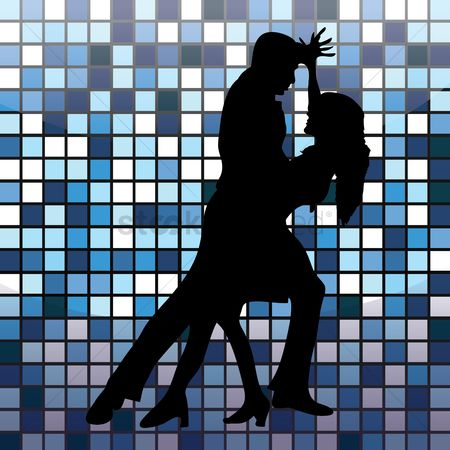 Dancing : Silhouette of a couple striking dance pose