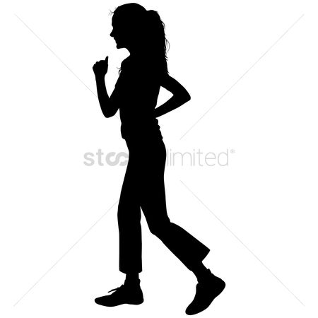 Strength exercise : Silhouette of a girl jogging