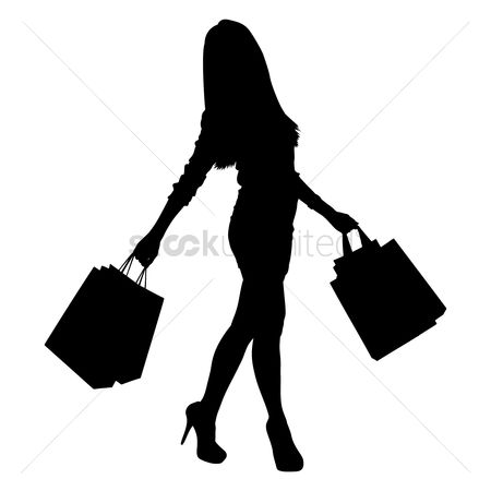 Lifestyle : Silhouette of a lady with shopping bags