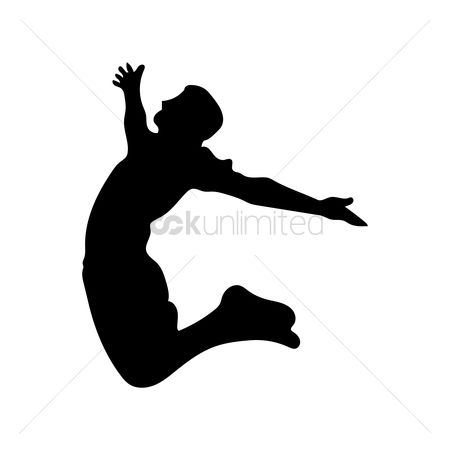 Cutout : Silhouette of a man jumping