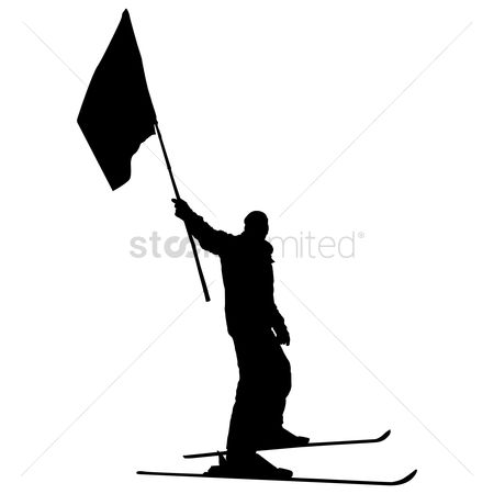 Ski : Silhouette of a skier with flag