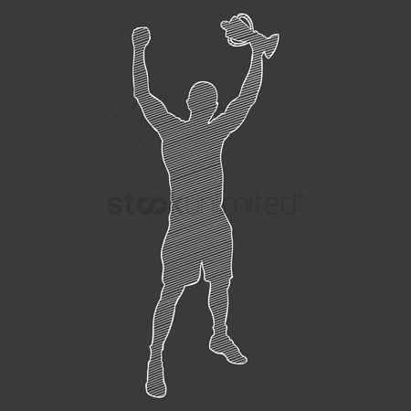 Cheering : Silhouette of a sportsman holding a trophy
