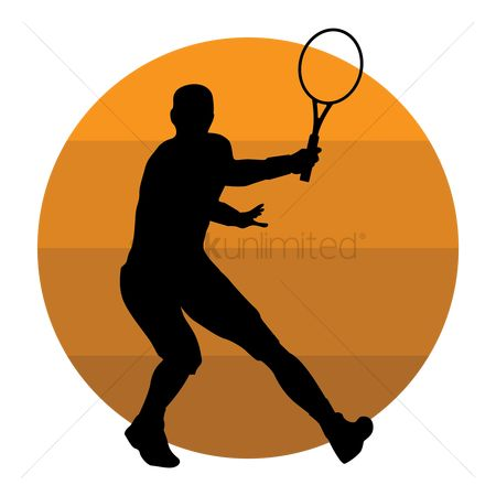 Racket : Silhouette of a tennis player