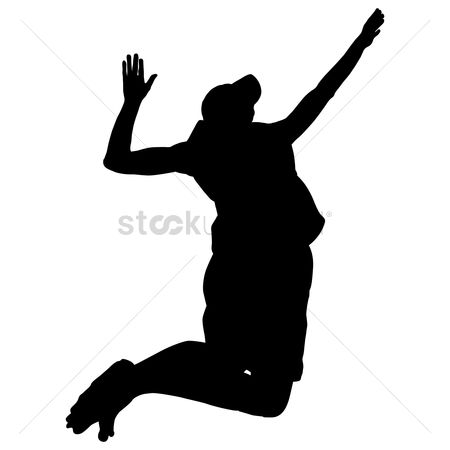 Volleyballs : Silhouette of a volleyball player