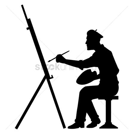 Palette : Silhouette of artist with canvas board