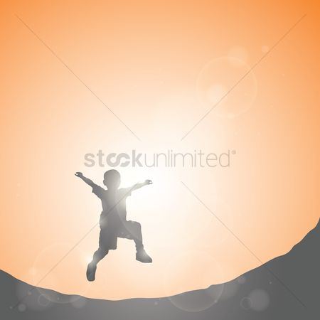 Sunray : Silhouette of boy jumping