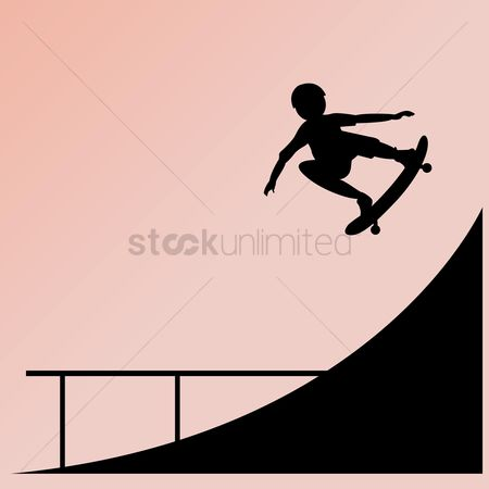 Skateboard : Silhouette of boy on skateboard