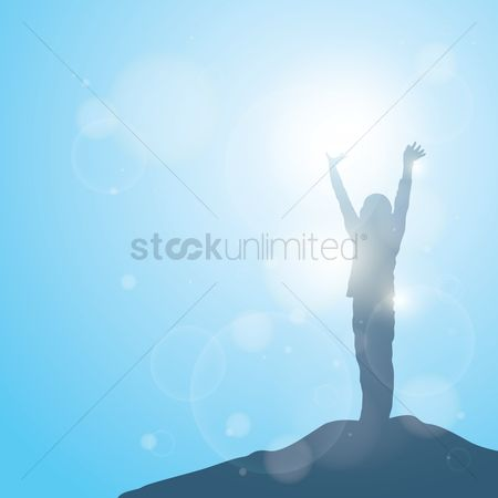 Sunray : Silhouette of boy raising hands